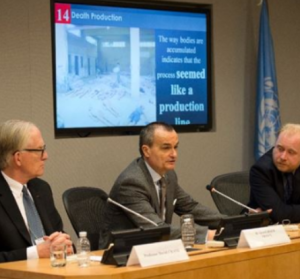 Gerard Araud (C), France's UN representative; Professor David Crane (L), former Chief Prosecutor of the Special Court for Sierra Leone; and Dr. Stuart Hamilton, forensic pathologist, on April 15, 2014 at the UN in New York